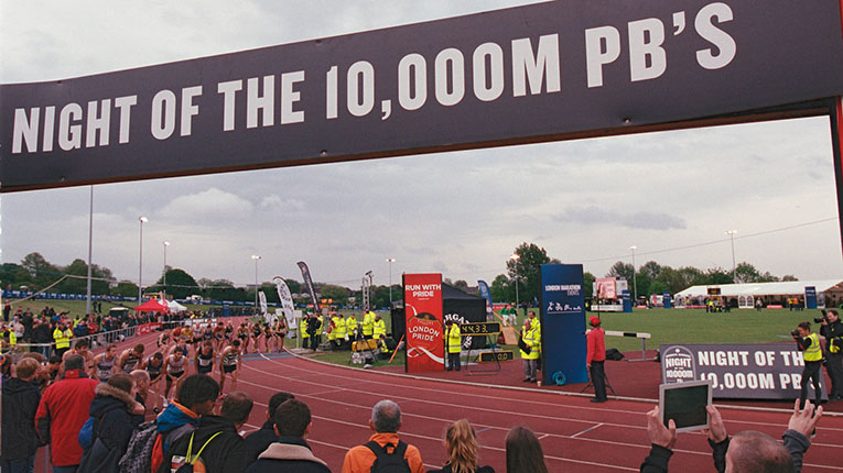 Athletes compete in the Highgate Harriers 10000m track meeting at Parliament Hill, London, on 21 May 2016. The event incorporated the Great Britain trials for the Rio Olympics.
