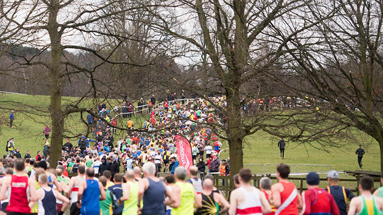 A general view of the senior men's race at the Saucony English National Cross Country Championships at Wollaton Park, Nottingham, UK, on 25 February 2017.