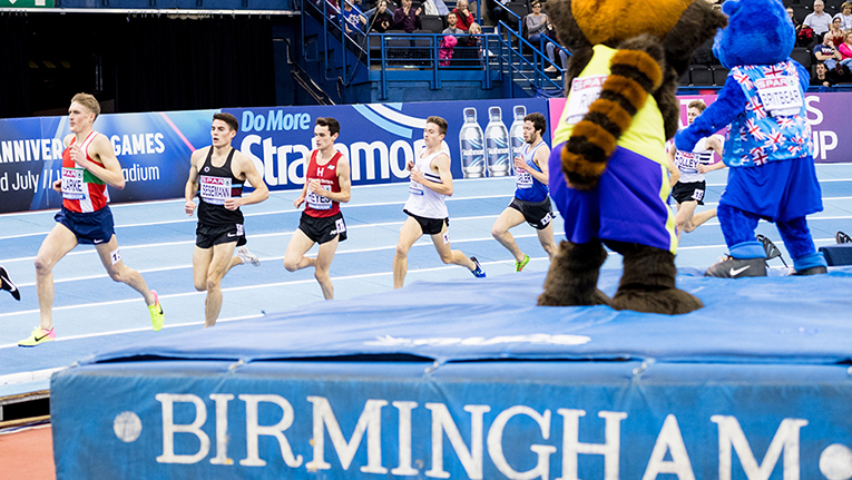 The men's 3000m final at the British Athletics Indoor Championships and World Trials at Birmingham, UK, on 18 February 2018. The race was won by Andrew Heyes (third from left) in a time of 7:54.81.